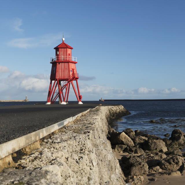 """Herd Groyne Lighthouse; South Shields, Tyne And Wear, England"" stock image"