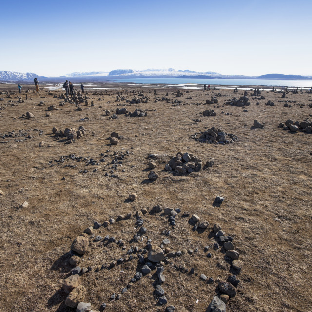 """""""Exploring The Tectonic Plates And Rock Figures In Thingvellir National Park;..."""" stock image"""