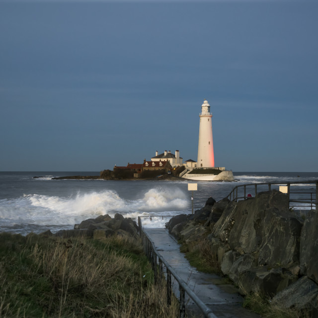 """""""St. Mary's Island And Lighthouse; Whitley Bay, Tyne And Wear, England"""" stock image"""