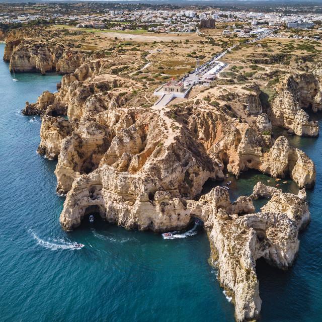 """Aerial shot of Lagos, Portugal"" stock image"