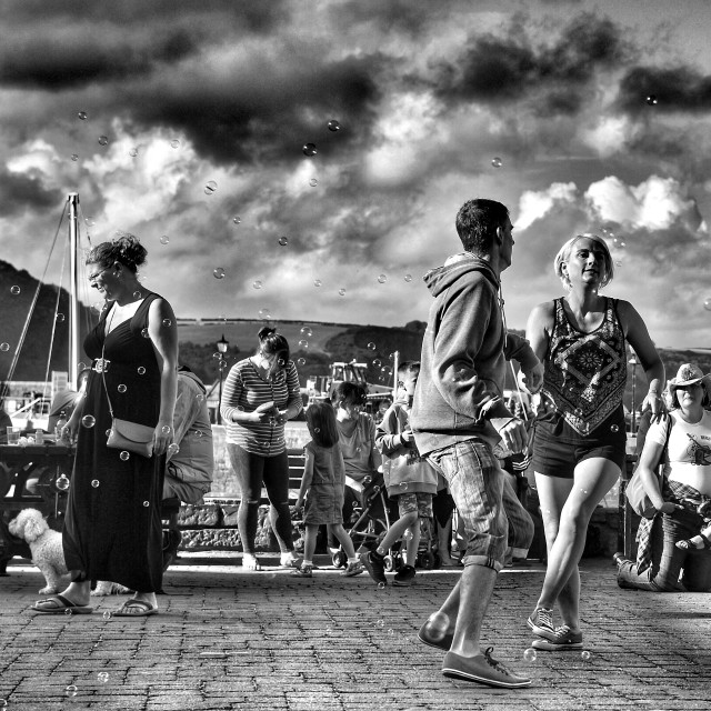 """""""Dancing on the harbour"""" stock image"""