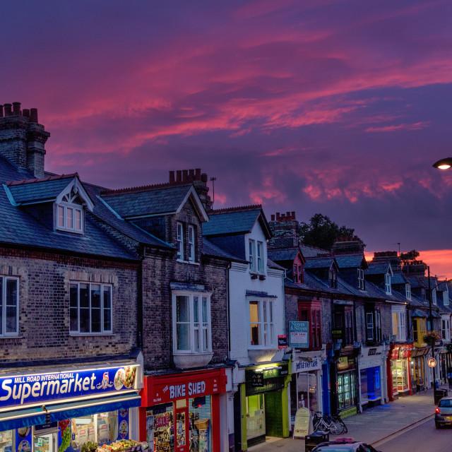 """Cambridge Mill Road Sunset"" stock image"