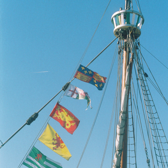 """Sailing Mast with insignia"" stock image"