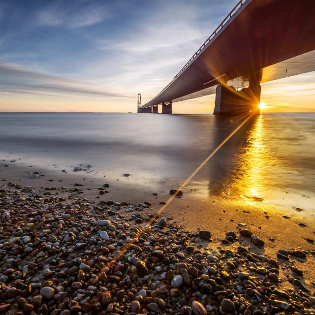 """Photo of the Danish Great Belt Bridge at sunset"" stock image"