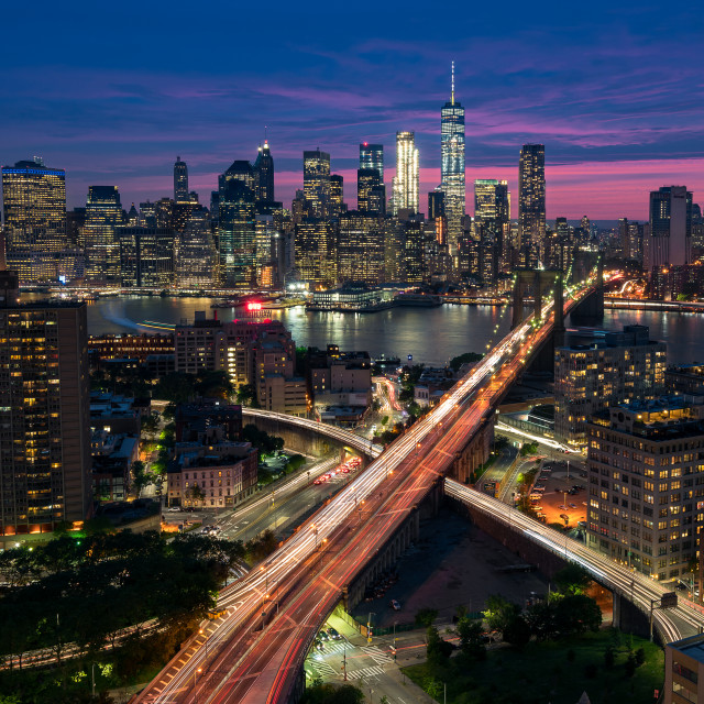 """Manhattan and Brooklyn skyline at dusk, New York City"" stock image"