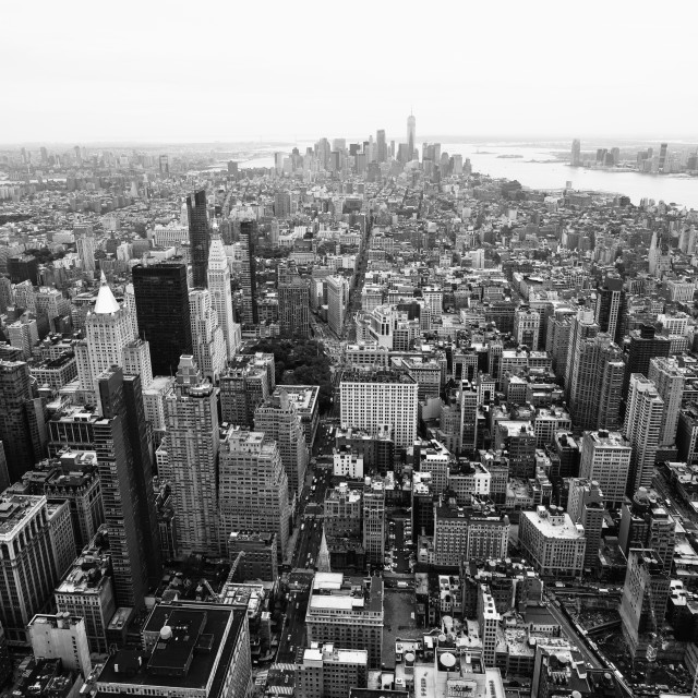 """""""New York city downtown, Black and White"""" stock image"""