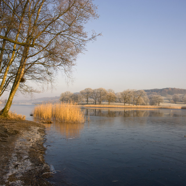 """Shoreline Of A Lake, Cumbria, England"" stock image"