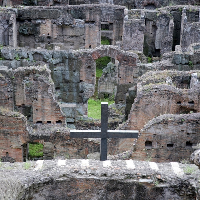 """Rome, Italy; Metal Cross Erected In The Catacombs Of The Colosseum"" stock image"
