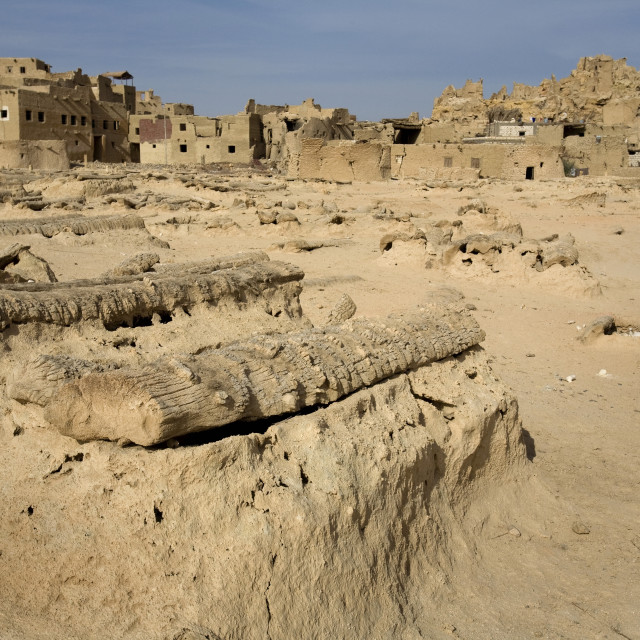 """Siwa Town, Siwa Oasis, Egypt; Siwan Cemetery At The Fortress Of Shali"" stock image"