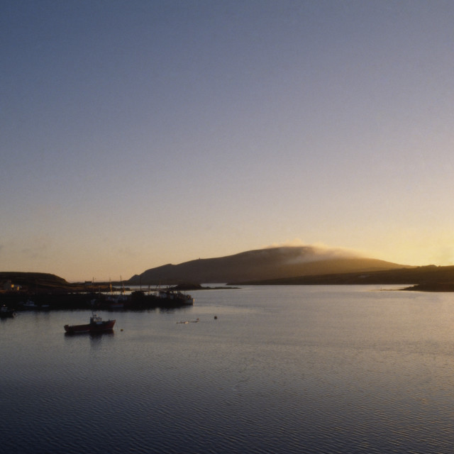 """""""Sunset Over Valentia Island And Portmagee Harbour; Co Kerry, Ireland"""" stock image"""