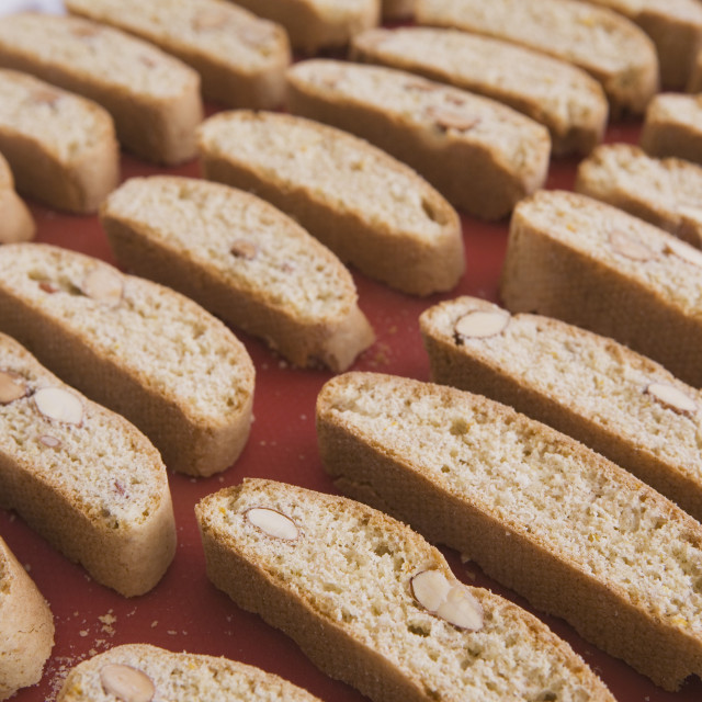 """Rows Of Baked Biscotti On A Baking Sheet"" stock image"