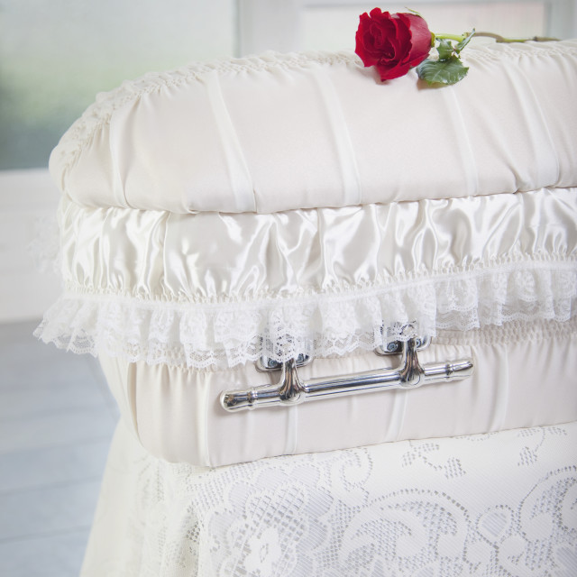 """A Rose Placed On An Infant's Coffin"" stock image"