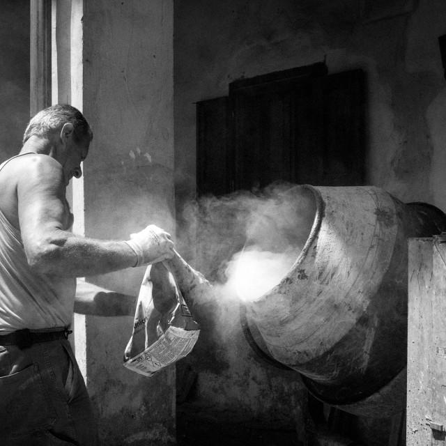 """The carpenter is a tough job"" stock image"