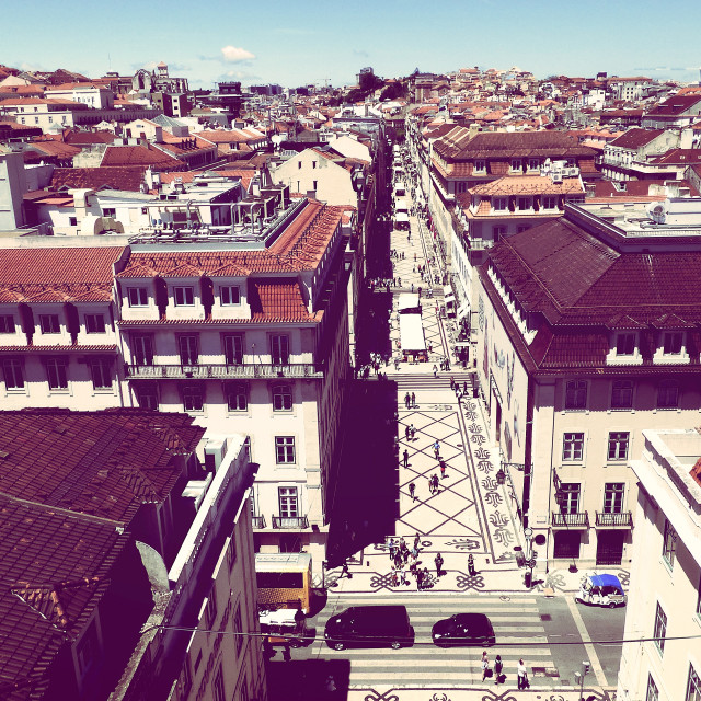 """High view of a part of the city of lisbon portugal"" stock image"
