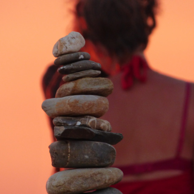 """Zen Stones at sunset"" stock image"