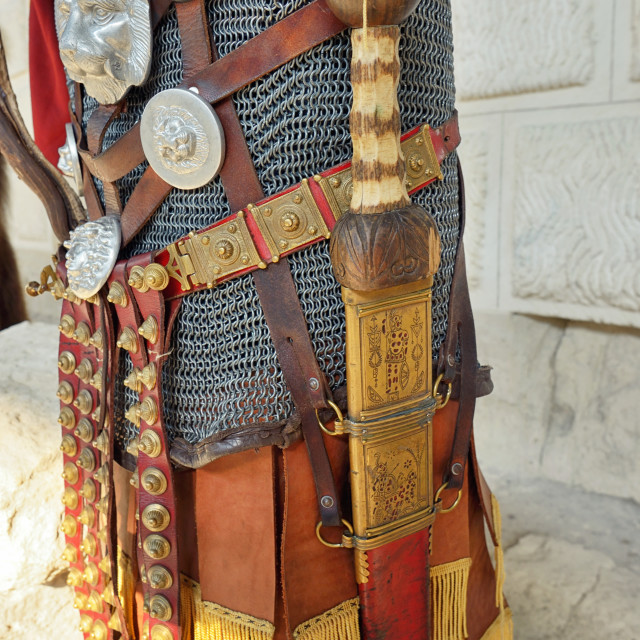"""Roman warrior iron armor"" stock image"
