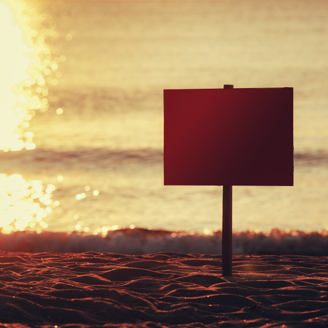 """""""Empty signboard on tropical beach"""" stock image"""