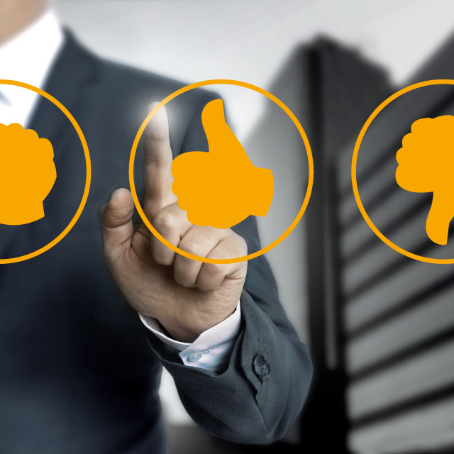 """thumb icons for Customer review concept"" stock image"