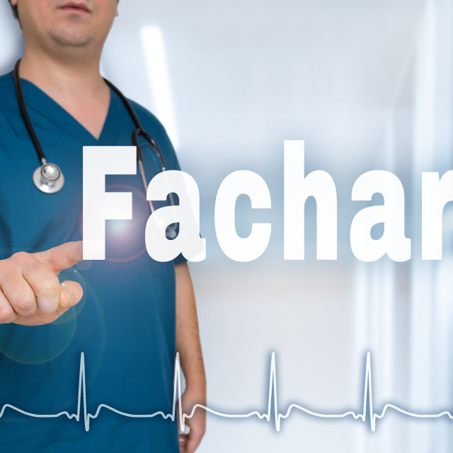 """Facharzt (in german Specialist doctor) pointing at viewer with heart rate..."" stock image"