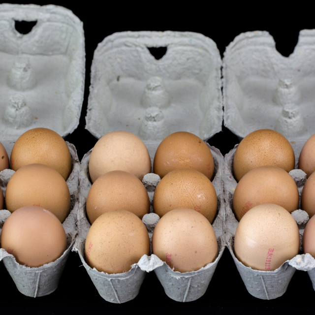"""One and half dozen of light brown eggs in cardboard boxes"" stock image"