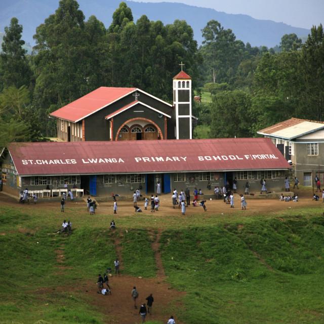 """school and church in Fort Portal in Uganda.November 25, 2010{iptc date}20101125"" stock image"