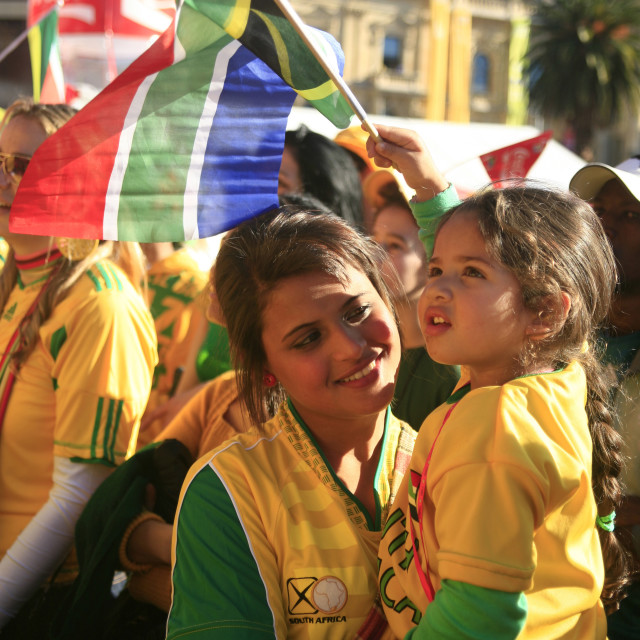 """""""South African fans young and old celebrates at Grand Parade fan park with..."""" stock image"""