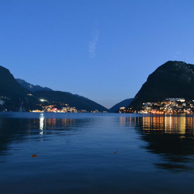 """""""Lake Lugano at night"""" stock image"""