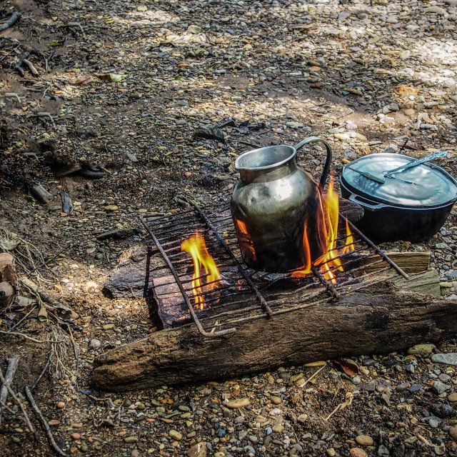 """Camp fire cooking"" stock image"