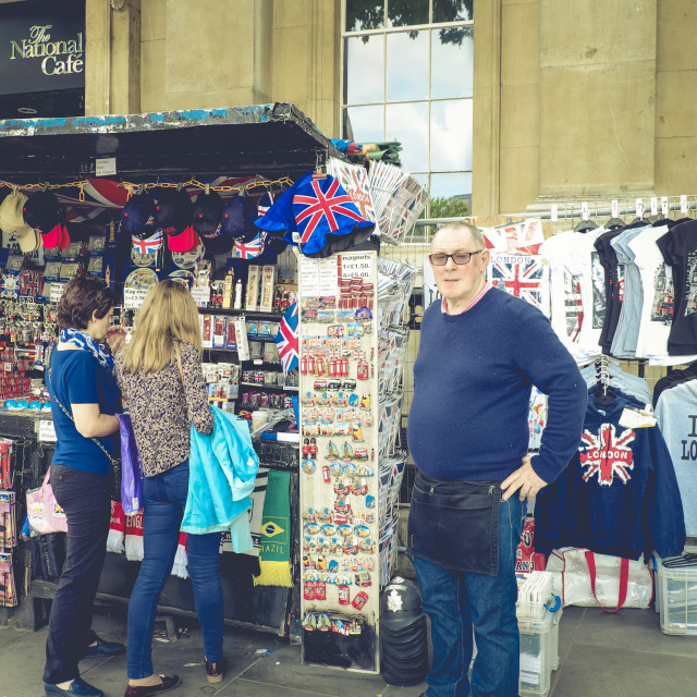 """""""Tourists at souvenir stall in London"""" stock image"""