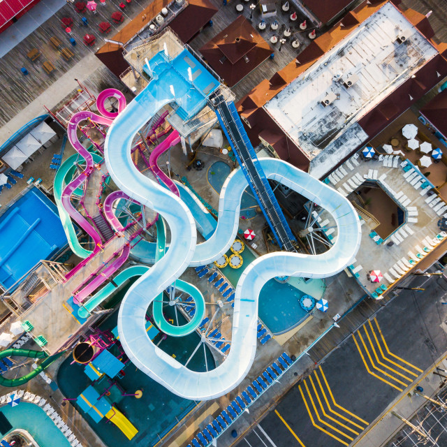 """water park slides aerial"" stock image"
