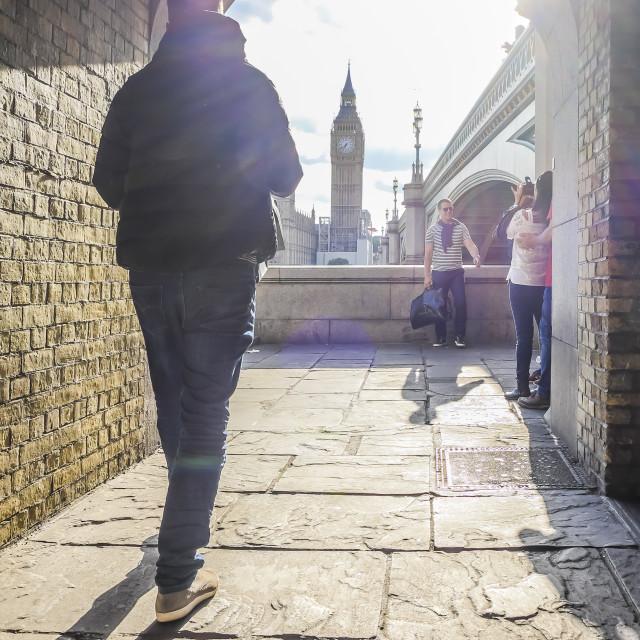 """""""View of Big Ben under Westminster bridge"""" stock image"""