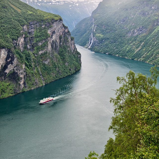"""""""Geiranger at the end of the Sunnylvsfjorden, Norway"""" stock image"""