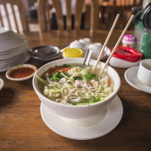 """Traditional Burmese noodle soup, Mawlamyine, Mon State, Myanmar (Burma)"" stock image"