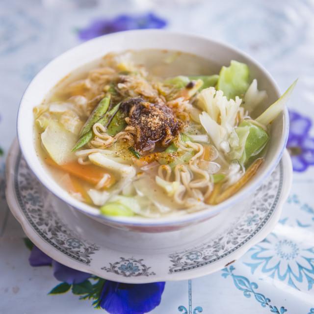 """Traditional Shan Noodle Soup, Inle Lake, Shan State, Myanmar (Burma)"" stock image"