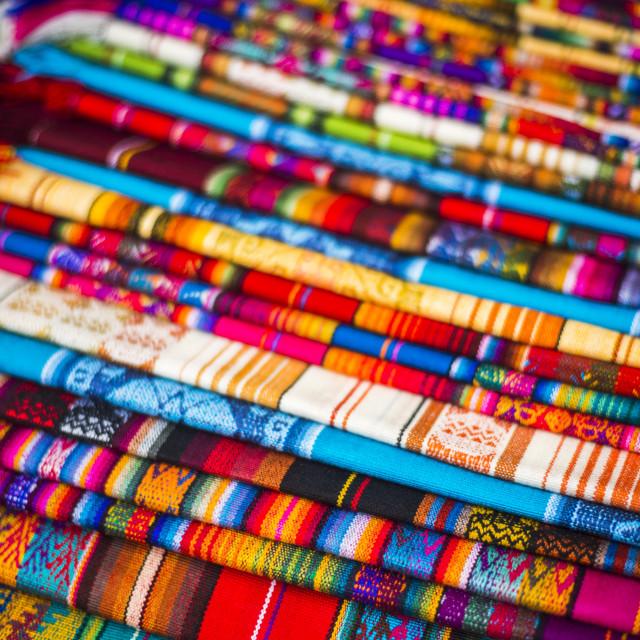 """Scarves for sale in Otavalo Market, Imbabura Province, Ecuador"" stock image"