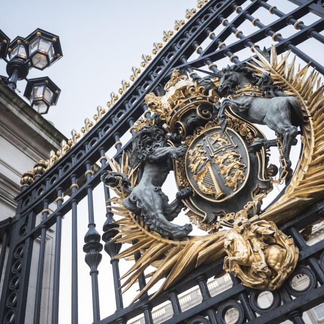 """Royal Coat of Arms on the gates at Buckingham Palace, London, England"" stock image"