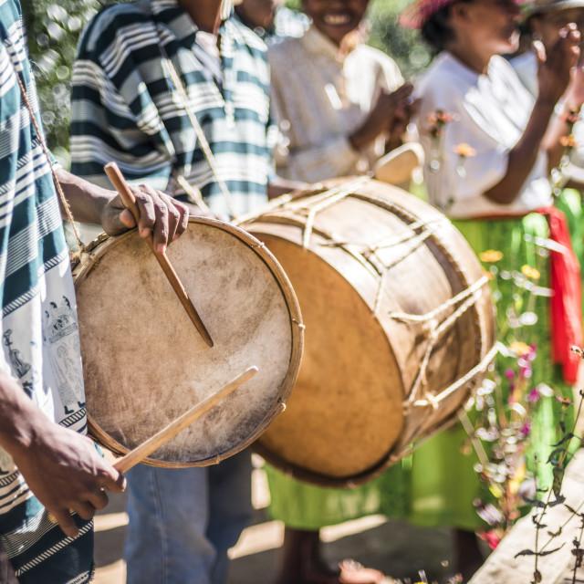 """Drums and traditional music at Ambohimahasoa, Haute Matsiatra Region,..."" stock image"