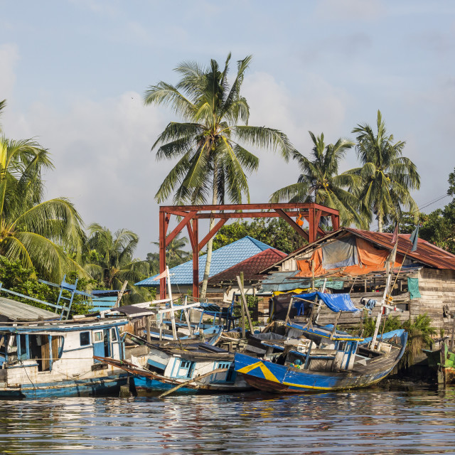 """""""View of fishing boats on the Kumai River, Central Kalimantan province,..."""" stock image"""