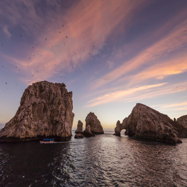 """Sunrise over Land's End, Finnisterra, Cabo San Lucas, Baja California Sur,..."" stock image"