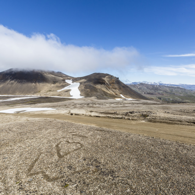 """A view inside the stratovolcano crater Snaefellsjokull, Snaefellsnes National..."" stock image"