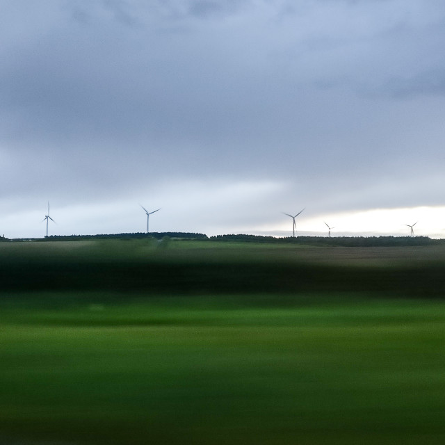 """Windmills on the horizon"" stock image"