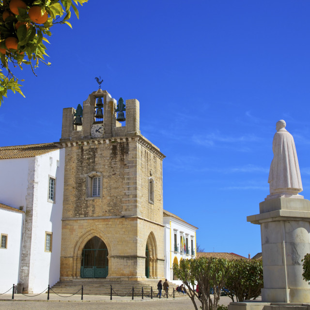 """""""Statue of Grande Bispo D. Francisco Gomes Do Avelar Infront of The Cathedral,..."""" stock image"""