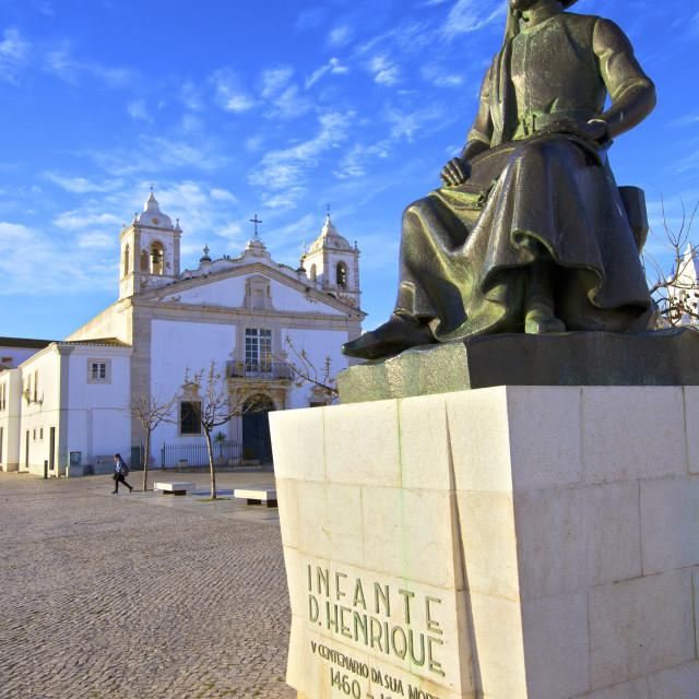"""Statue of Henry The Navigator, Lagos, Western Algarve, Algarve, Portugal, Europe"" stock image"