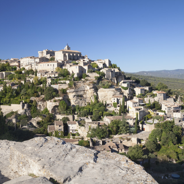 """""""Hilltop village of Gordes with castle and church, Provence,..."""" stock image"""