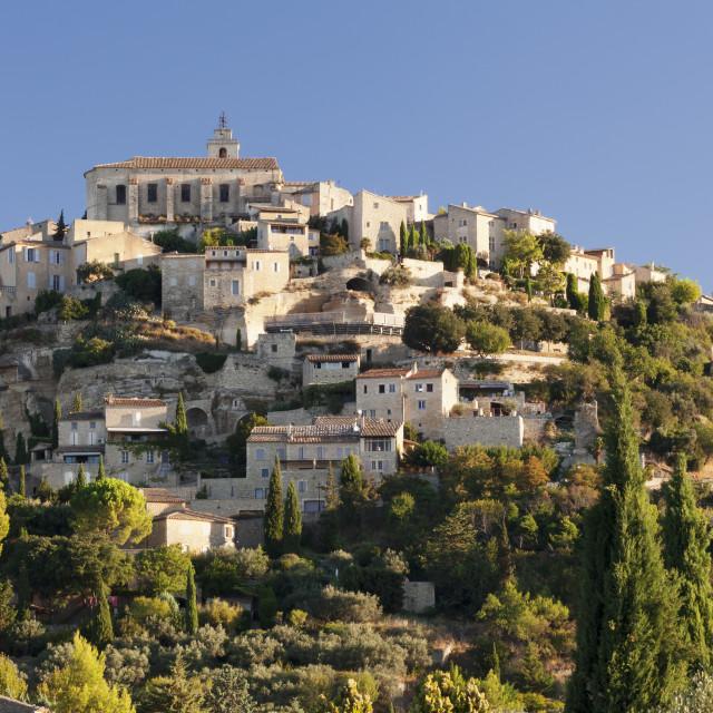 """Hilltop village of Gordes, Provence, Provence-Alpes-Cote d'Azur, Southern..."" stock image"