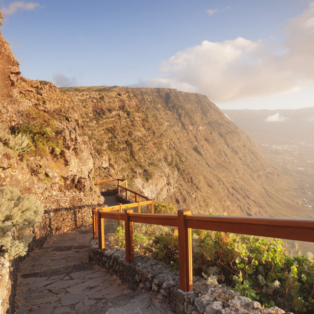 """Mirador de la Pena at sunset, architekt Cesar Manrique, UNESCO biosphere..."" stock image"