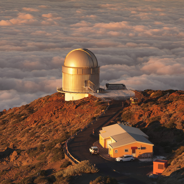 """Observatory on Roque de los Muchachos at sunset, Parque Nacional de la..."" stock image"