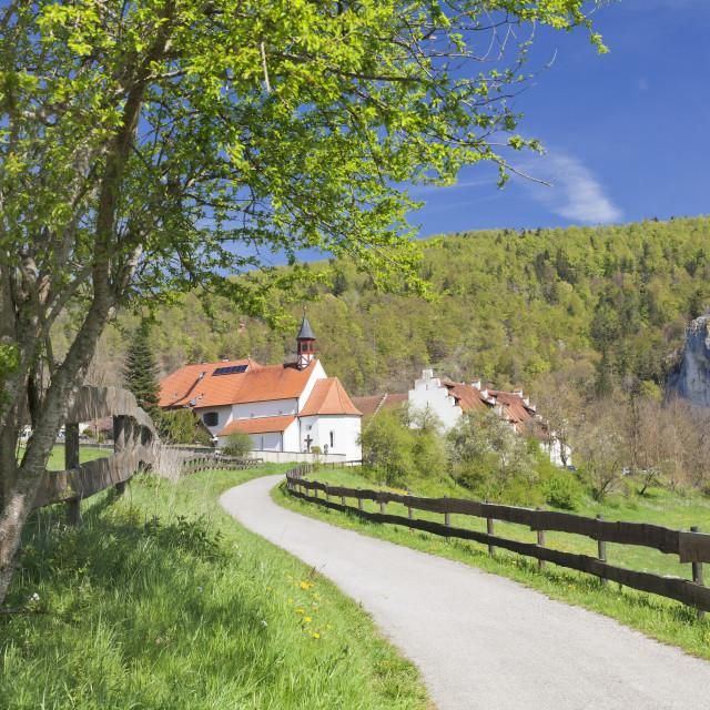 """""""St. Georg chapel, Kaeppeler Hof, Thiergarten, Danube Valley in spring, Upper..."""" stock image"""