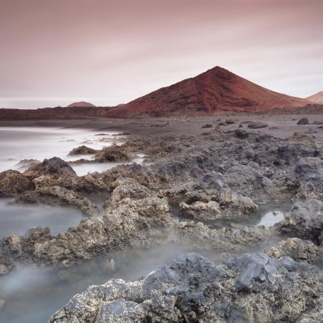 """""""Lava coast near Los Hervideros, Montanas del Fuego, Parque Natinal de..."""" stock image"""
