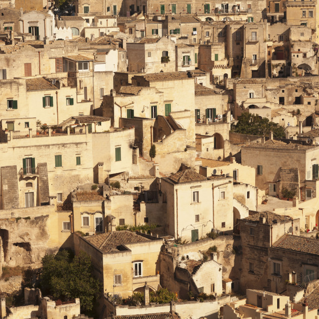 """Cave dwellings, Sasso Barisano, UNESCO World Heritage Site, Matera,..."" stock image"